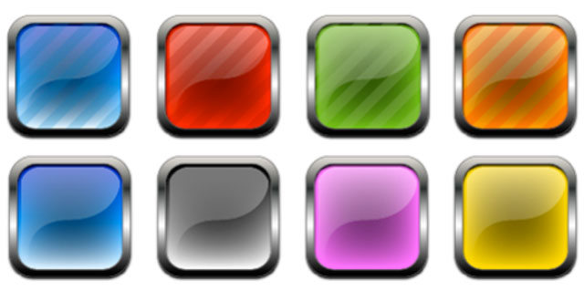 "Buttons with precise gradients illustrate the typically clean, smooth, and semi-translucent ""2.0"" look."