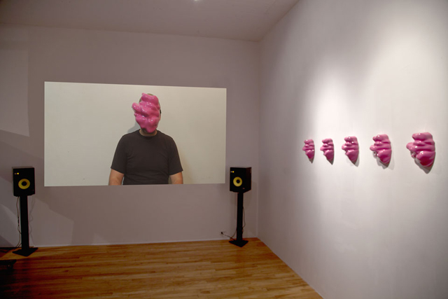 Facial Weaponization Suite: Fag Face Mask, 2012, Zach Blas, installation view, The H™lles 10: Risky Business, Feminist Festival of Media Arts + Digital Culture, Studio XX, Montreal, Canada, ©Zach Blas. (Used with permission.)