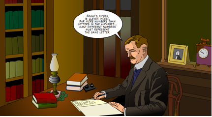 Figure 1. Trying to crack one of Beale's ciphers. (From Beale Papers Mystery graphic novel, currently available at http://CryptoClub.org.)