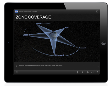 Figure 3. Screenshot from NASAViz science story Zone Coverage demonstrates how weather satellites collect data.