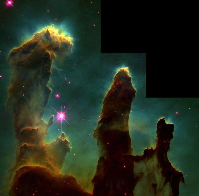 Fig. 8. Pillars of Creation or Gaseous Pillars in the Eagle Nebula M16, April 1, 1995 with the Hubble Space Telescope Wide Field and Planetary Camera 2, Photo No. STScI-PRC2003-34, Credit: Jeff Hester and Paul Scowen (Arizona State University), and NASA.