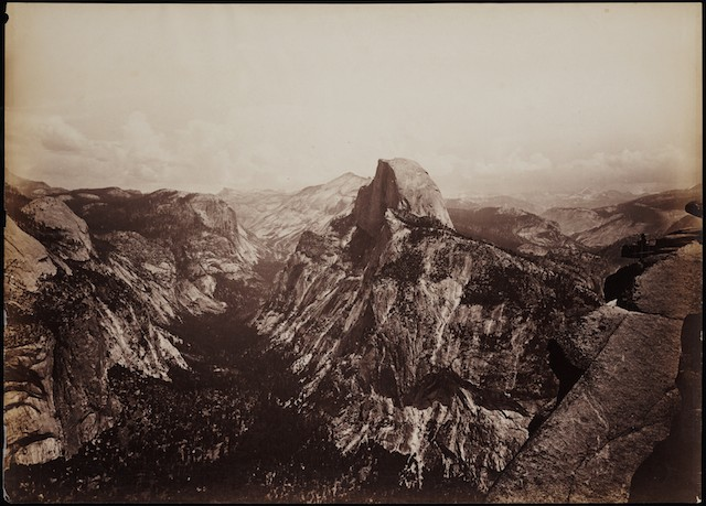 Fig. 12. Half Dome 5000 ft. from Glacier Point, Yosemite, California, circa 1878-81, Carleton Watkins, mammoth glass negative approximately 18 x 21 inches, Courtesy of the Yale Collection of Western Americana, Beinecke Rare Book and Manuscript Library, Yale University, New Haven, Connecticut.