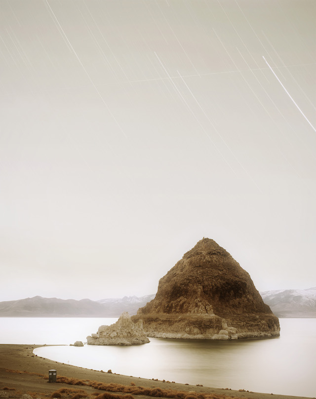 Fig. 13. DMSP 5B/F4 from Pyramid Lake Indian Reservation (Military Meteorological Satellite; 1973-054A), 2009, Trevor Paglen, C-Print, copyright Trevor  Paglen, Courtesy of the artist; Metro Pictures, New York; Altman Siegel, San Francisco; Galerie Thomas Zander, Cologne.