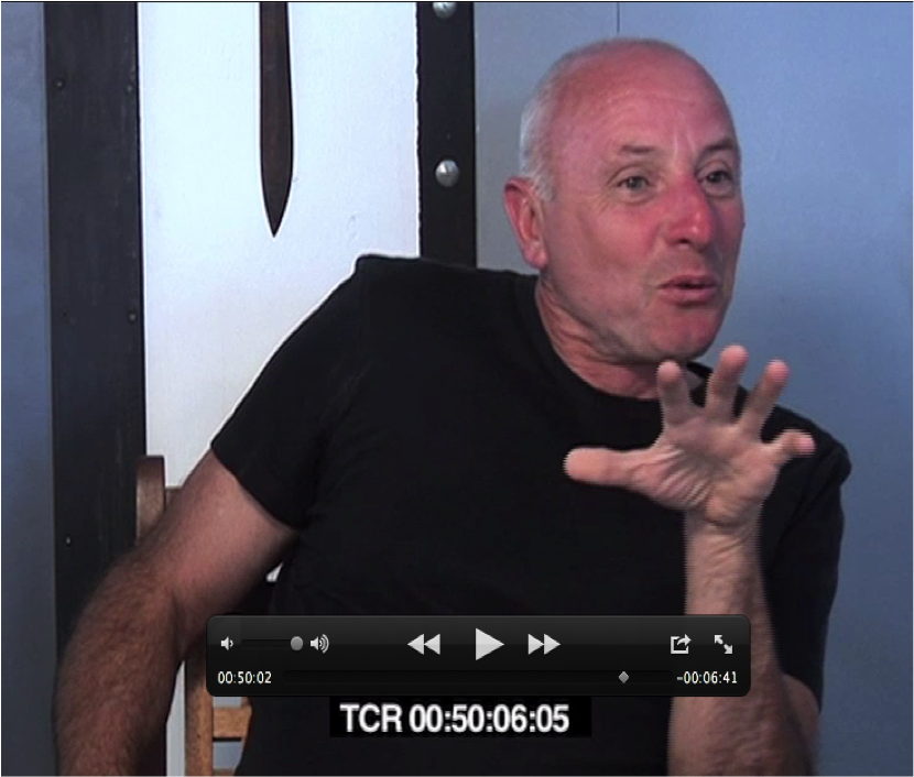 RhyCycling, 2011, RhyCycling team, video still, © RhyCycling team. Legend: Editing the filmic discussion with the professional diver and business owner Serge Stephany.