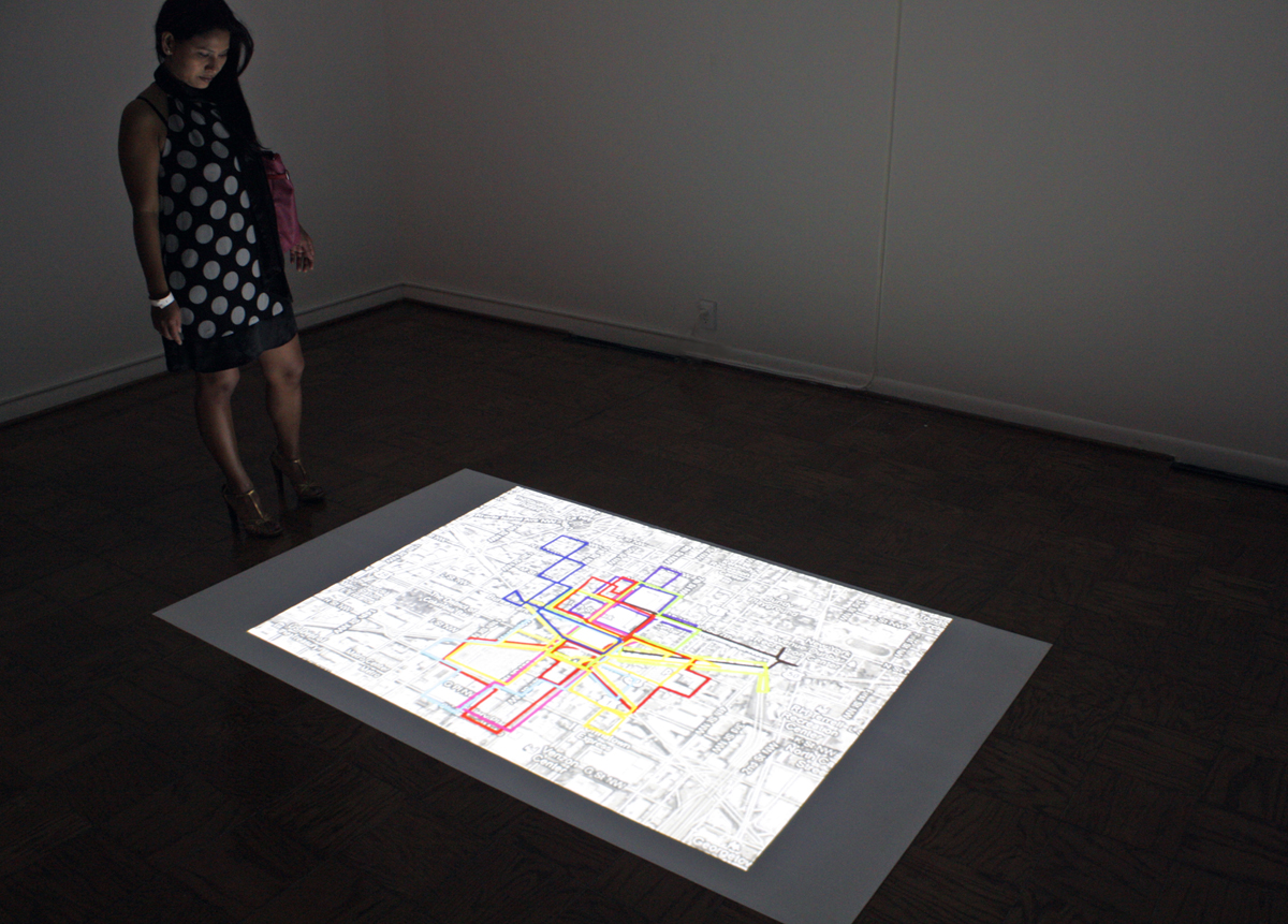 Fig. 8. IWalking as Drawing, 2012, Billy Friebele, Video Installation, ©Billy Friebele