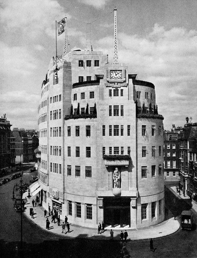 Fig. 7. George Val Myer and Marmaduke T. Tudsbery, BBC Broadcasting House, London, 1928-31. From Rudolf Arnheim, Radio, trans. Margaret Ludwig and Herbert Read (London: Faber & Faber, 1936), 209.