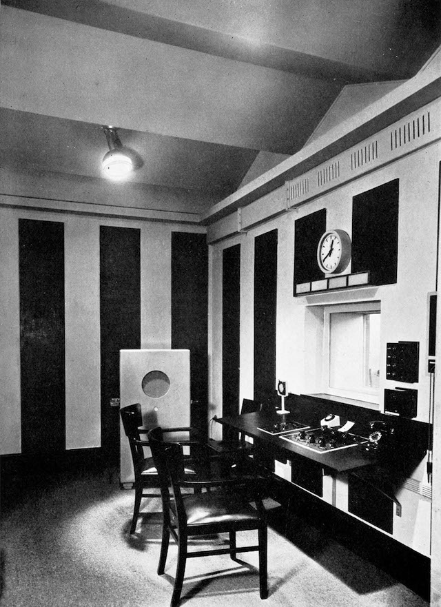 "Fig. 10. ""Listening Room"" laboratory at the Haus des Rundfunks, Berlin, ca. 1931: ""Acoustics adjusted to those of a normal living-room. Echo-absorbing materials on the walls give the right amount of reverberation; zig-zag ceiling to prevent echo."" From Rudolf Arnheim, Radio, trans. Margaret Ludwig and Herbert Read (London: Faber & Faber, 1936), n.p. (facing p. 176)."