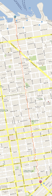 Fig 6.  Digital Trust Hike, GPS Route Line, 2012, Paul Taylor, screen shot of GPS route line, © Paul Taylor