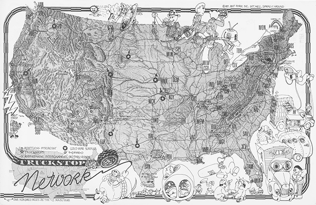 Fig. 3. Truckstop Network Placemat (recto), 1971, Ant Farm, offset printing on paper (2-sided); 17 x 11 in.; University of California, Berkeley Art Museum and Pacific Film Archive. Photo: Benjamin Blackwell. © Ant Farm. (Used with permission.)