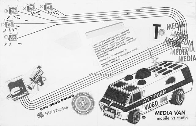 Fig. 5. Media Van: mobile vt studio, 1971, Ant Farm; ink, stamp marks in black ink, sticker, and collage elements on paper; 11 x 17 in.; University of California, Berkeley Art Museum and Pacific Film Archive. Photograph: Benjamin Blackwell. © Ant Farm. Used with permission.