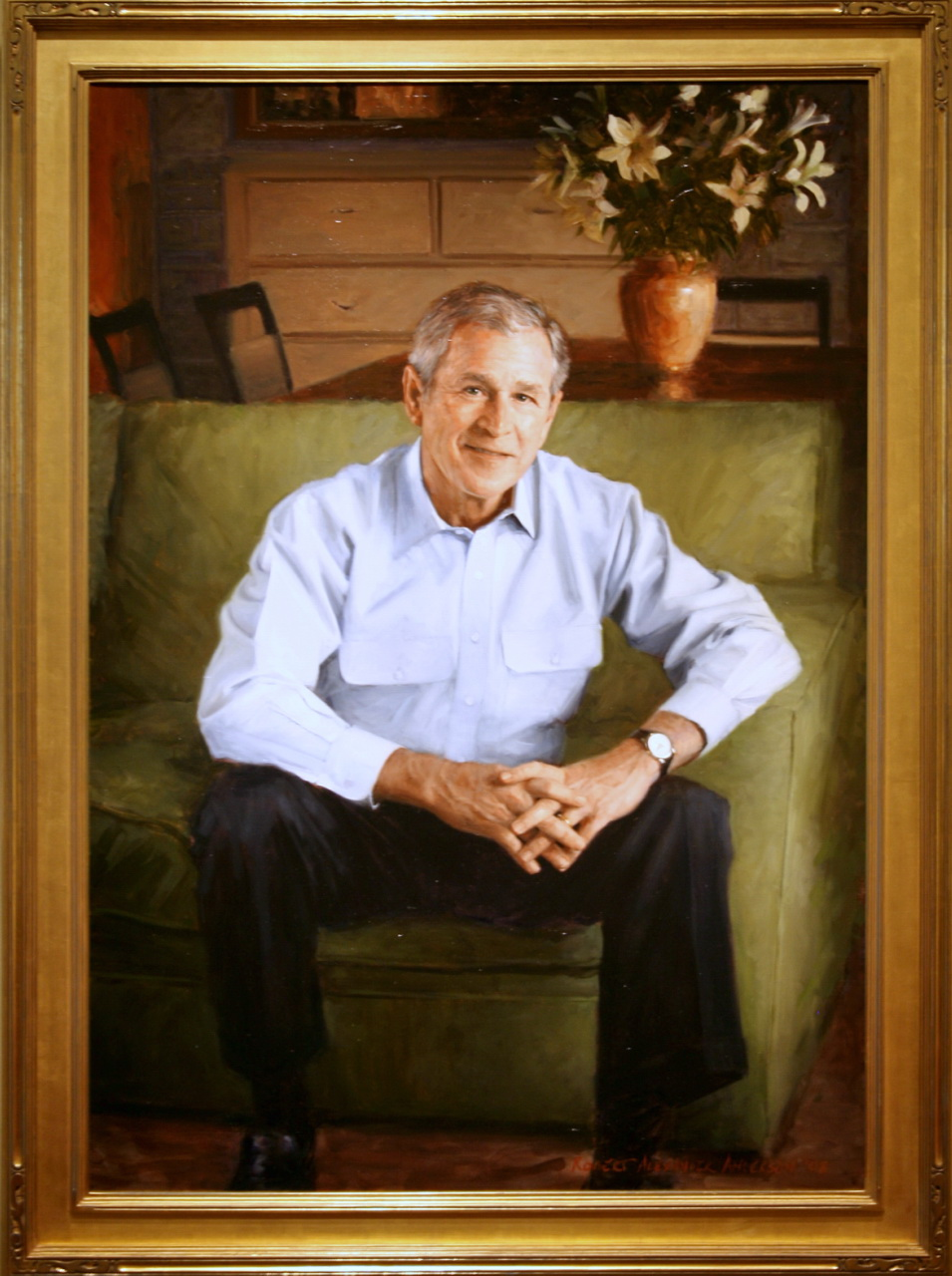 "George W. Bush (2008), Robert Anderson, Oil on Canvas, approx. 60"" x 48"" Collection of the National Portrait Gallery (US)"