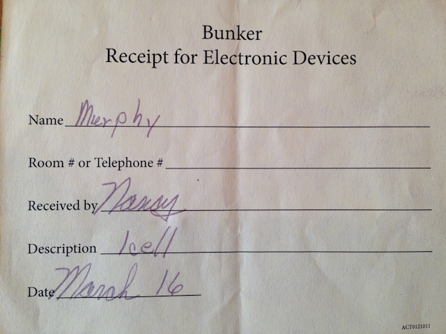 Fig. 5. Bunker Receipt for Electronic Devices, 2012, Brian Michael Murphy, digital photograph ©Brian Michael Murphy.