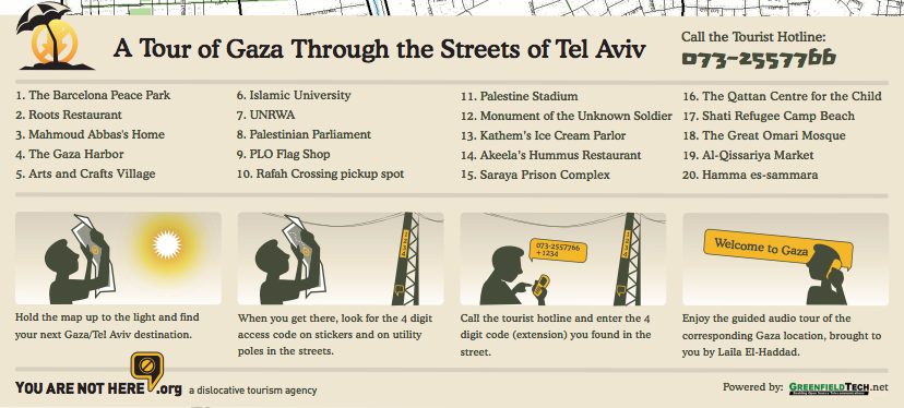 Fig. 3. Gaza/Tel-Aviv Map, Side 2, 2007, Mushon Zer-Aviv, screen capture, January 29, 2013, http://youarenothere.org/gaza-tlv/yanh_gaza_two-sided.pdf.