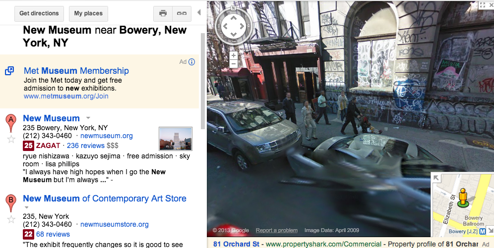 Fig. 4. New Museum near Bowery, New York, NY, Street Ghosts/Google, screen capture, February 10, 2014.