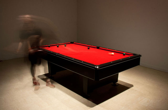 VS (Versus) :: 0.01 [eight-ball], 2012, //benitez_vogl, pool table, custom soft and hardware, sound system, Cleveland, OH Collider5:Ingenuity, ©//benitez_vogl (Margarita Benitez and Markus Vogl). Photo: Jeff Snowden. (Used with permission.)