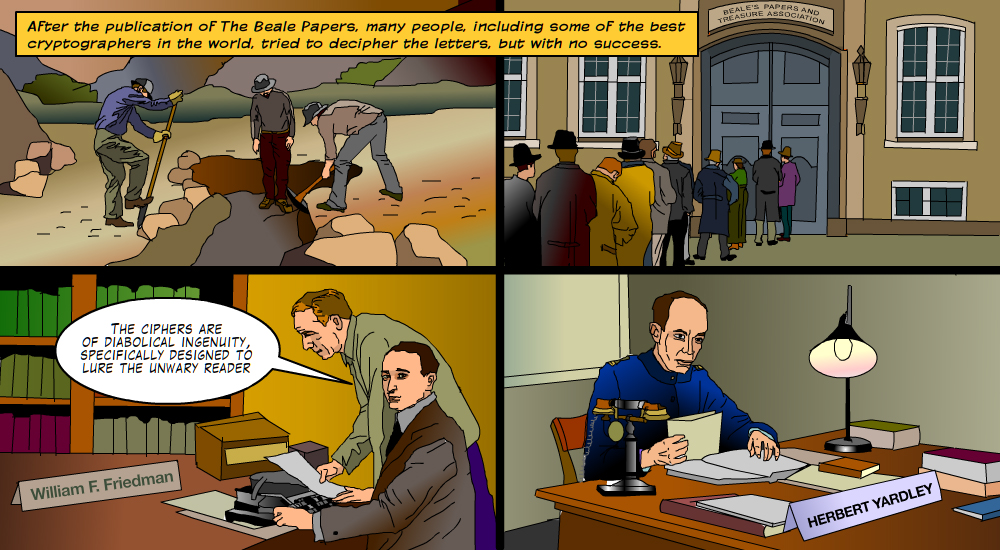One of the panels from Cryptoclub historic graphic novel series featuring Beale's ciphers that has never been cracked. 2014, from Beale Papers Mystery, graphic novel, currently available at http://CryptoClub.org. (Used with permission).