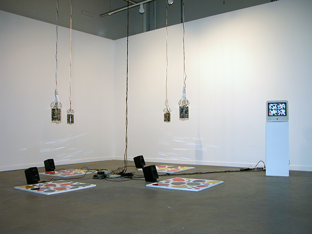 Chaotic Conductor, 2005, Philip Galanter, installation with pendulums, cameras, loudspeakers, pseudo-paintings, electronics, computer, software, ©Philip Galanter.
