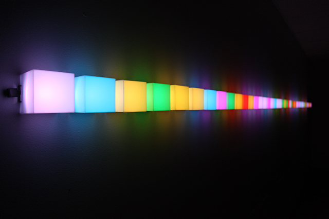 RGBCA 2, Philip Galanter, 2010, LEDs, microcontroller, power supply, acrylic plastic, software, ©Philip Galanter.