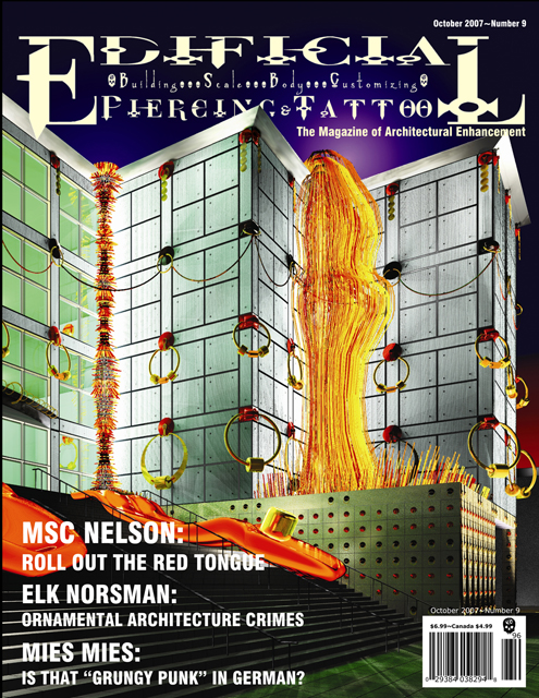 Virtual Installation at Chicago Museum of Contemporary Art, 2007, Mark S.C. Nelson & Elk Norsman, cover of Edificial Piercing and Tattoo magazine, ©Mark S.C. Nelson & Elk Norsman.