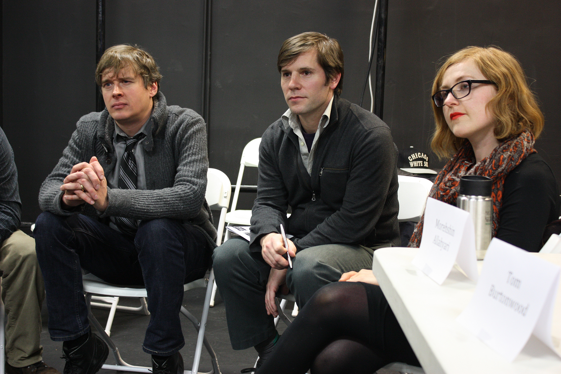 3D Printing Roundtable Discussion: Discussion breakout group led by (L to R) Jamie Obermeier, Tom Lauerman, and Sophie Kahn, 2014. ©Rachel Clarke. (Used with permission.)