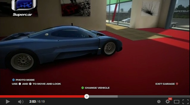 XBOX 360 – My Garage on Project Gotham Racing 4 – 03, 1969Diabolic, 2013, YouTube screen capture, https://www.youtube.com/watch?v=SiFWf8gLlKU, accessed June 28, 2014.