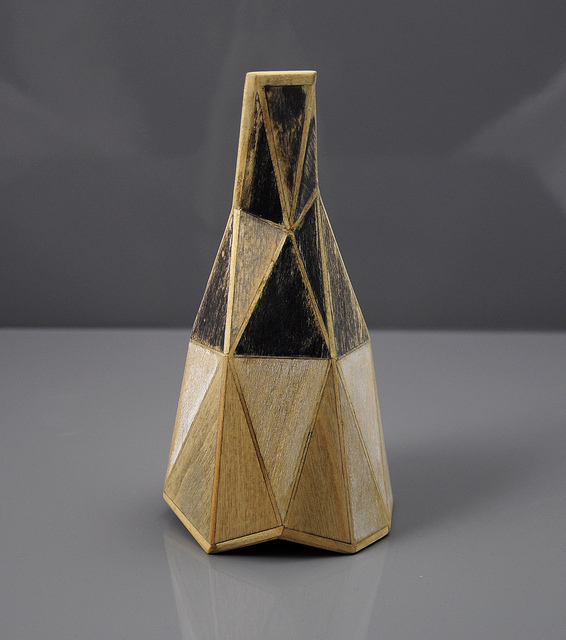 Gemini, 2013, Tom Lauerman, wood, paper, ink, 3 x 3 x 5.5 in. ©Tom Lauerman.