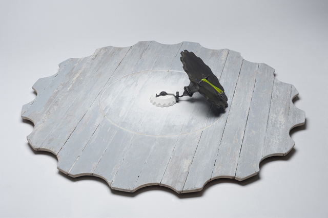 An Easy Solution, 2012, Jamie Obermeier, wood, bronze, steel, acrylic, whitewash, ©Jamie Obermeier.