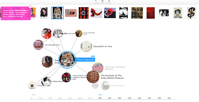 Screenshot from The Warhol :Timeweb. http://warhol.gradientlabs.com on Last accessed September 15, 2014.