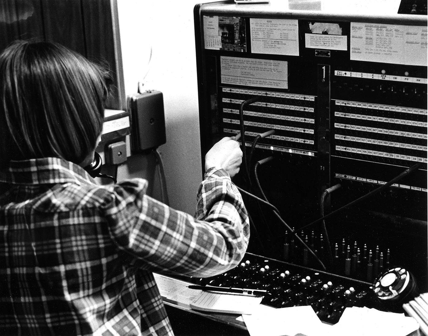 Unknown Switchboard Operator, 1974, Benedictine University Archives, Benedictine University Library (CC BY-NC 2.0 licensed). https://www.flickr.com/photos/benedictineuniversity/6328897141/