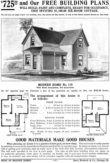 Advertisement for Sears Catalog Home, model 115, 1908-1914, in public domain.