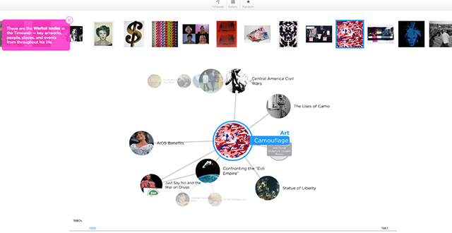 Screenshot from The Warhol :Timeweb. http://warhol.gradientlabs.com on Last accessed on September 15, 2014.