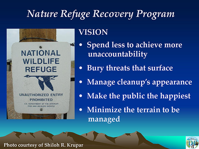 Powerpoint slide from a 2011 presentation by Barry Graves, the Director of Strategic Disposal and Unaccountability for the Department of Energy's Office of Legacy Management, courtesy of Shiloh Krupar.