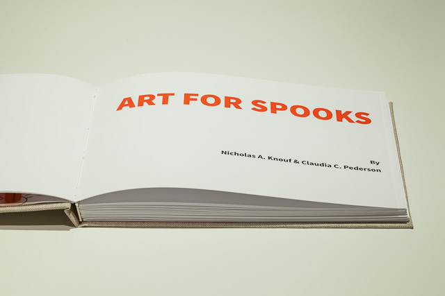 Art for Spooks, 2014, Nicholas A. Knouf and Claudia C. Pederson, handbound case-bound book, iPad, found images and text, custom software. CC BY-SA 2.0.