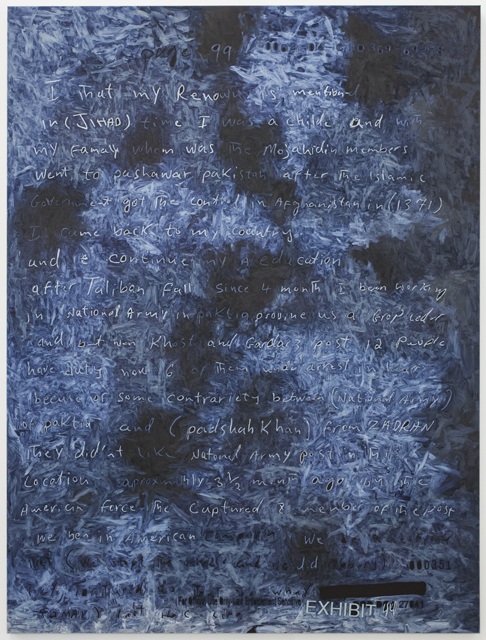 in (JIHAD) time, 2014, oil on linen, 57 x 44 in. / 147.3 x 111.8 cm. Text: U.S. government document. © 2014 Jenny Holzer, member Artists Rights Society (ARS), NY. Used with permission.