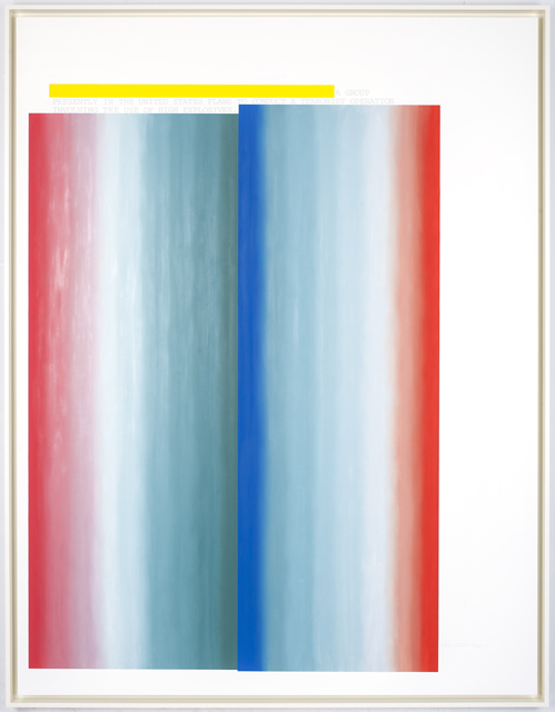 PRESENTLY IN THE UNITED STATES, 2014, oil on linen, 80x62 in. / 203.2 x 157.5cm. Text: U.S. government document. © 2014 Jenny Holzer, member Artists Rights Society (ARS), NY. Used with permission.
