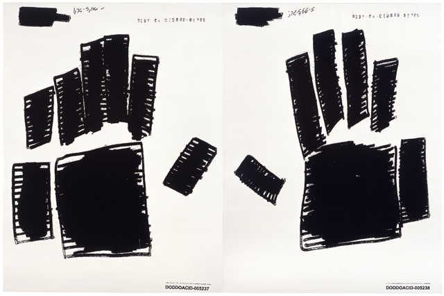 Big Hands yellow white, 2006, Oil on linen, 2 elements, 10.35 x 160 in. / 262.9 x 406.4 cm. Text: U.S. government document. © 2006 Jenny Holzer, member Artists Rights Society (ARS), NY. Used with permission.