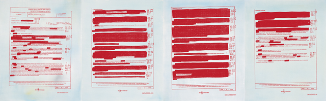 He Did Not See Any Americans blue,, 2006, Oil on linen, 4 elements. 33 x 102 in. / 83.8 x 259.1 cm. Text: U.S. government document. © 2006 Jenny Holzer, member Artists Rights Society (ARS), NY.
