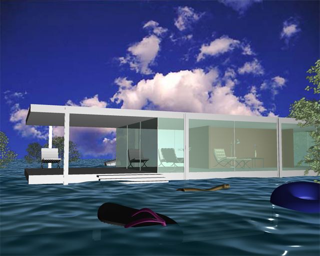 The Farnsworth House Flood, 2008, Patty Harris, animation created in Maya, © Patty Harris. (Used with permission.)