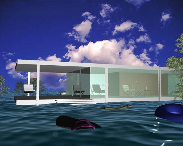 The Farnsworth House Flood, 2008, Patty Harris, animation created in Maya, © Patty Harris. (Used with permission.)