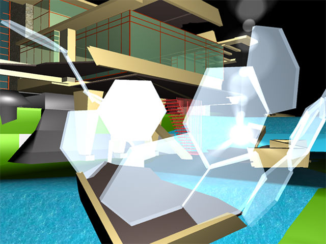 Fallingwater, 2009, Patty Harris, animation created in Maya, © Patty Harris. (Used with permission.)