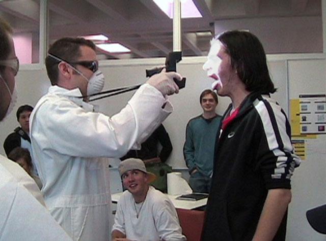 …And Awe (Superhero Intercourse), 2007, Jim Jeffers with Adam Norton & Julia Pelosi, performance, University of Massachusetts Lowell, © Jim Jeffers. (Used with permission.)