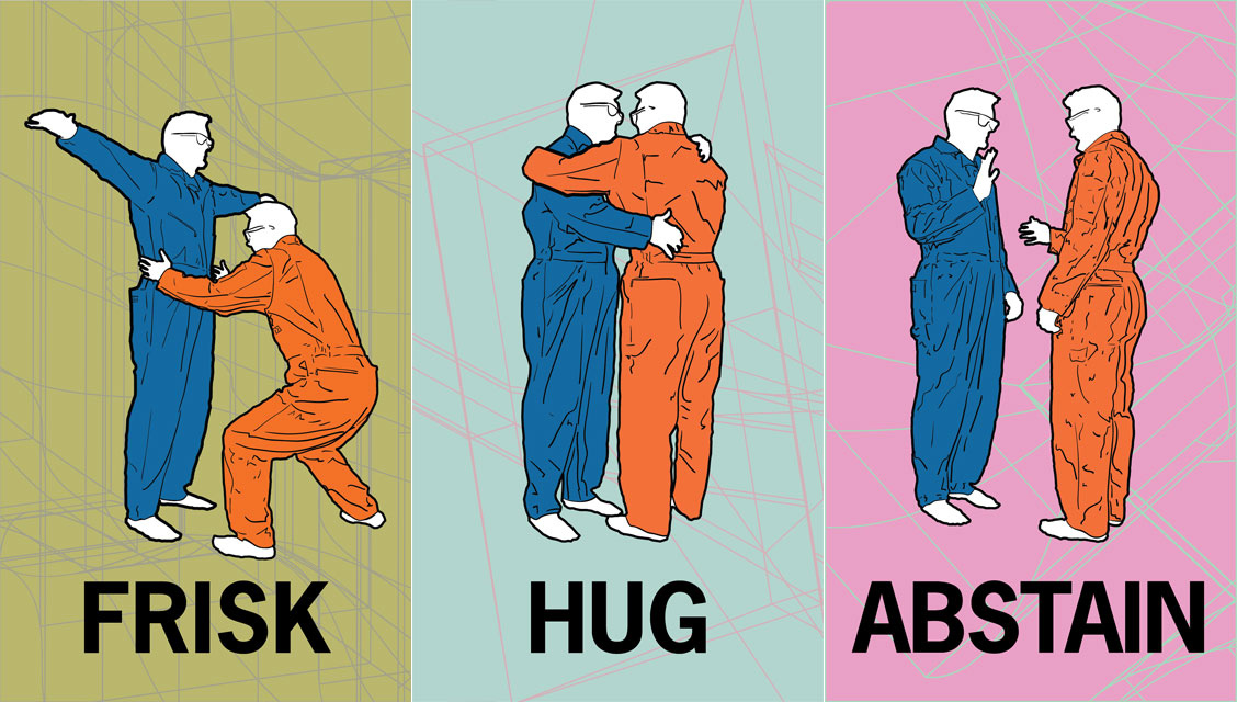 Cards distributed for Frisk, Hug, and Abstain, 2013, Jim Jeffers, digital image offset print, © Jim Jeffers. (Used with permission.)