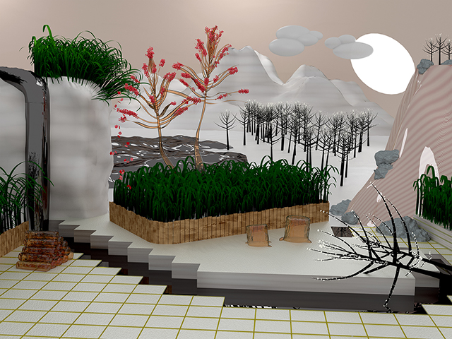 Twist Tree, 2014, Jessye McDowell, digital print of 3D modeled image, © Jessye McDowell. (Used with permission.)