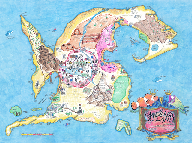 Samesies Island, 2014, Cartographer: Jaimes Mayhew, Surveyors: Bones, Mickey Dehn, Asa Keiswetter and Jack Pinder, colored pencil, marker, and pen on paper, © Jaimes Mayhew. (Used with permission.)