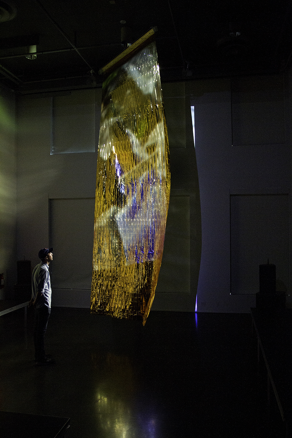 """Milieux associés, May 2014, Ælab, permutational and performative installation, with evening architectural projection. Phi Centre. """"2nd International Digital Arts Biennale."""" Photo © Lorna Bauer. Used with permission."""