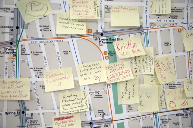Moving Stories, 2015, Laura Nova, Map with post-it notes, © Laura Nova. (Used with permission.)