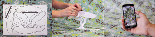 TechnoSphere 2.0. Paper form tree used as graphic marker to display virtual tree that AR creatures can interact with, 2015. Jane Prophet and Mark Hurry, Android app, ©Jane Prophet