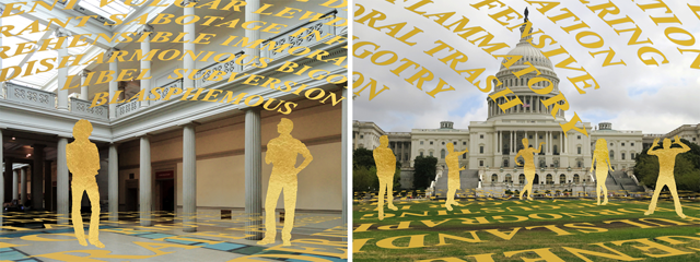 insert Fig. 2 – Shades of Absence: 'Governing Bodies,' Corcoran Gallery of Art (left), US Capitol (right), 2013, Tamiko Thiel, augmented reality, © Tamiko Thiel.
