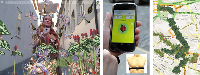 Biomer Skelters: user, app + bio sensor, mARp (AR map), 2013–2016+, Will Pappenheimer and Tamiko Thiel, biosensor, mobile app & augmented reality, © Thiel and Pappenheimer.