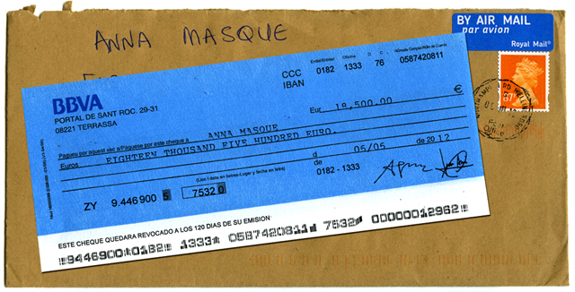 One of the received checks, 2013, KairUs, © KairUs. (Used with Permission.)